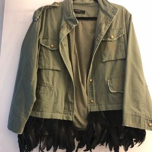 Zara jacket with real feather all around